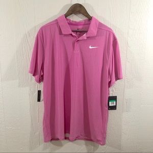 Nike NWT Pink Standard Fit Gold Polo Shirt